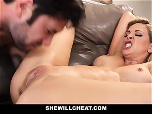 SheWillCheat cheating wifey Gags on man-meat